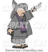 Clip Art of a Bandito Pointing a Gun down and Knife up by Djart