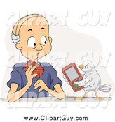 Clip Art of a Bird Offering His Cell Phone to a Senior White Man by BNP Design Studio