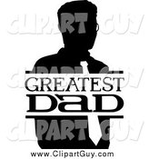 Clip Art of a Black and White Greatest Dad Sign and Man by BNP Design Studio