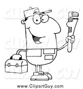 Clip Art of a Black and White Happy Male Plumber Holding a Toolbox and a Monkey Wrench by Hit Toon