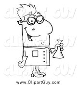 Clip Art of a Black and White Happy Male Scientist by Hit Toon