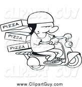 Clip Art of a Black and White Pizza Delivery Boy on a Scooter by Gnurf