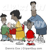 Clip Art of a Black Family of Four Shopping Together at a Grocery Store by Djart