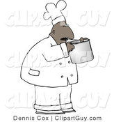 Clip Art of a Black Male Chef Smelling Food in a Cooking Pot by Djart