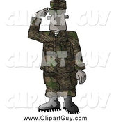 Clip Art of a Black Male U.S. Marine Delivering a Salute by Djart