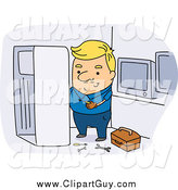 Clip Art of a Blond White Appliance Repair Man by BNP Design Studio