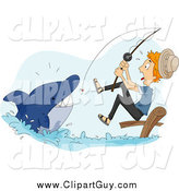 Clip Art of a Blond White Man Reeling in a Shark While Fishing by BNP Design Studio