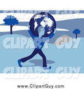 Clip Art of a Blue Man Carrying a Globe over Hills by Prawny