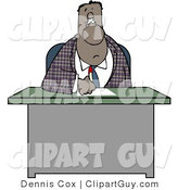 Clip Art of a Bored Black Businessman Writing on Papers at His Office Desk by Djart