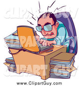 Clip Art of a Businessman Typing Away on His Laptop, Surrounded by Stacks of Files by Tonis Pan
