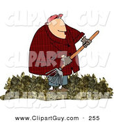 Clip Art of a Caring Obese Man Raking Dead Leaves from a Lawn by Djart