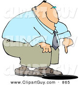 Clip Art of a Caucasian Businessman Pointing at an Uncovered Manhole by Djart