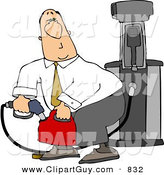Clip Art of a Caucasian Businessman Pumping Gasoline into a Gas Can by Djart