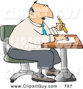 Clip Art of a Caucasian Businessman Sitting at a Desk and Writing on Paper with Pencil by Djart
