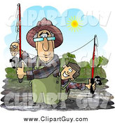 Clip Art of a Caucasian Grandpa and Grandson Fishing in a River on a Sunny Day by Djart