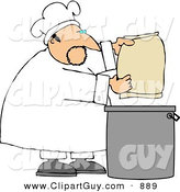 Clip Art of a Caucasian Male Bake Making Bread by Djart