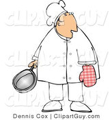 Clip Art of a Caucasian Male Chef Wearing an Oven Mitten and Holding a Cooking Pot by Djart