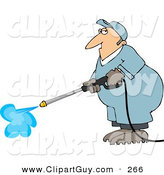 Clip Art of a Caucasian Male Worker Cleaning with a Professional Pressure Washer by Djart