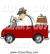 Clip Art of a Caucasian Man Driving a Red Compact Convertible Truck with a Beer Keg in the Back, Delivering Brew to an Oktoberfest Party by Djart
