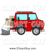 Clip Art of a Caucasian Man Filling His Car up with Gas by Djart