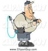 Clip Art of a Caucasian Man Reading a Gas Detector Pager While Working on the Job by Djart