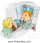 Clip Art of a Caucasian Paramedics Loading a Patient into an Ambulance by BNP Design Studio