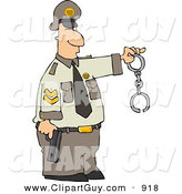 Clip Art of a Caucasian Policeman Holding a Pistol and Handcuffs by Djart