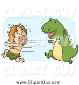Clip Art of a Caveman Running from a Hungry Dinosaur by BNP Design Studio