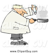 Clip Art of a Chubby White Male Chef Salting Food in a Frying Pan by Djart