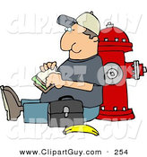 Clip Art of a Content Male Worker Eating His Lunch Outside Against a Fire Extinguisher by Djart