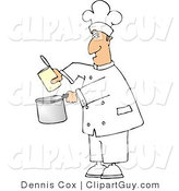 Clip Art of a Cook Pouring Food from a Can into a Cooking Pan by Djart
