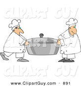 Clip Art of a Couple of Chefs Carrying a Large Oversized Pot of Food by Djart