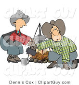 Clip Art of a Cowboy and Cowgirl Crouched Beside a Campfire by Djart