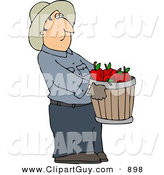 Clip Art of a Cowboy Farmer Guy Carrying a Pale of Freshly Picked Red Apples by Djart