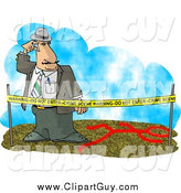Clip Art of a Crime Scene Investigator Looking at the Clues by Djart