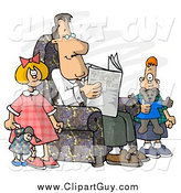 Clip Art of a Divorced White Dad Reading Newspaper Beside His Kids by Djart