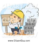 Clip Art of a Engineer Pointing on a Construction Job Site by BNP Design Studio