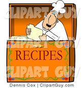 Clip Art of a Food Recipe Box with a Caucasian Chef by Djart