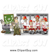 Clip Art of a Football Coach in the Locker Room with His Players by Djart