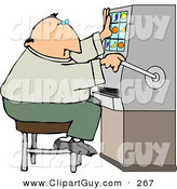 Clip Art of a Gambler Man Playing the Slot Machine in a Casino by Djart