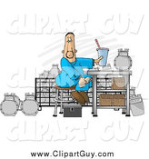 Clip Art of a Gas Meter Repair Man Sitting in His Shop Eating Lunch by Djart
