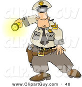 Clip Art of a Graveyard Shift Caucasian Police Officer Shinning His Flashlight at SomethingGraveyard Shift Caucasian Police Officer Shinning His Flashlight at Something by Djart