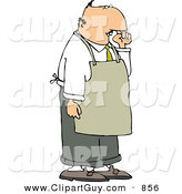 Clip Art of a Gross Restaurant Food Handler Wearing an Apron and Picking His Nose for Boogers by Djart