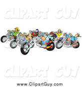 Clip Art of a Group of Biker Chicks and Dudes with Colorful Choppers by Snowy