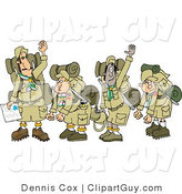 Clip Art of a Group of Boy Scouts Wearing Hiking Gear and Waving Their Hands Goodbye by Djart