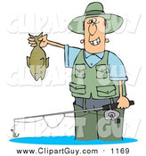 Clip Art of a Guy Wading in Water and Holding His Fishing Rod and Catch by Djart