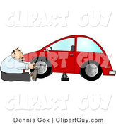 Clip Art of a Handy Businessman Changing a Flat Tire on a Red Compact Car by Djart