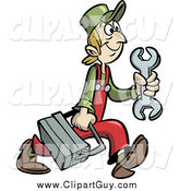 Clip Art of a Handy Man or Mechanic Carrying a Tool Box by Frisko