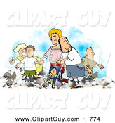 Clip Art of a Happy Family Feeding Pigeons at the Park by Djart