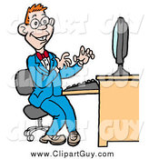 Clip Art of a Happy Red Haired White Computer Geek Man in a Blue Suit, Working on a Computer by LaffToon